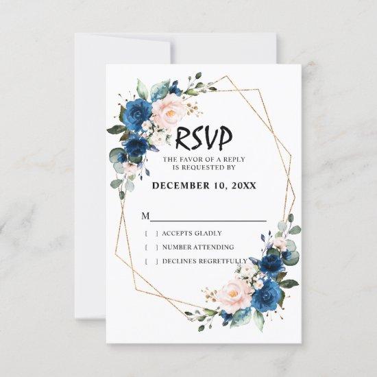 Romantic Navy blue Blush Pink Floral Geometric RSVP Card