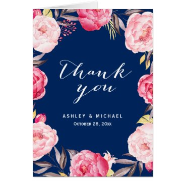 Christmas Themed Romantic Navy Blue Pink Rose Flowers Thank You Card