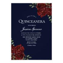 Romantic Navy & Red Rose Quinceanera Invite