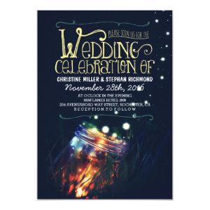Romantic night lights mason jar wedding invite