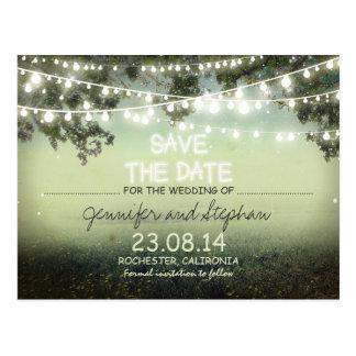 romantic night lights modern save the date postcard