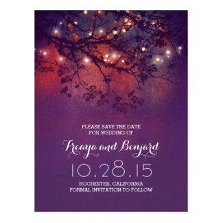 romantic night lights purple rustic save the date postcard