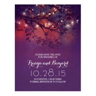 romantic night lights purple rustic save the date postcard