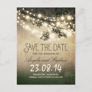 romantic night lights rustic save the date announcement postcard