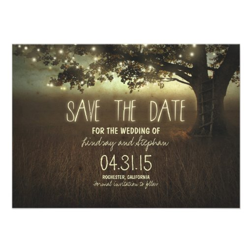 """romantic night lights rustic save the date cards 4.5"""" x 6.25 ..."""
