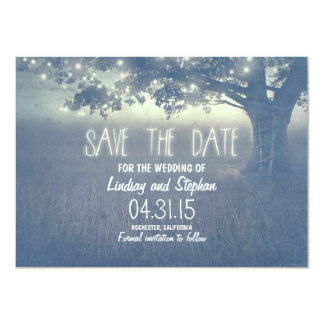 """romantic night lights rustic save the date cards 4.5"""" x 6.25"""" invitation card"""
