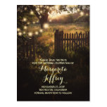 romantic night lights rustic save the date cards postcard