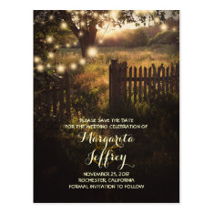 romantic night lights rustic save the date cards post card