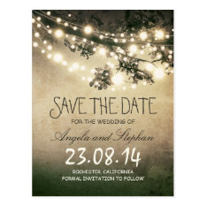 Romantic Night Lights Rustic Save The Date Postcard at Zazzle