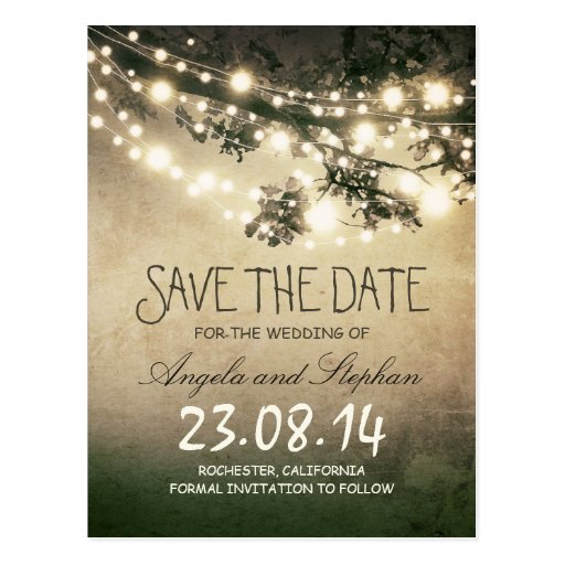 romantic night lights rustic save the date postcards