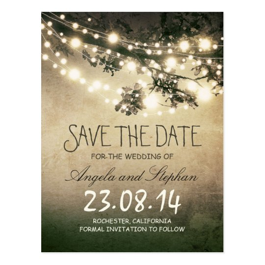 romantic night lights rustic save the date postcard | Zazzle