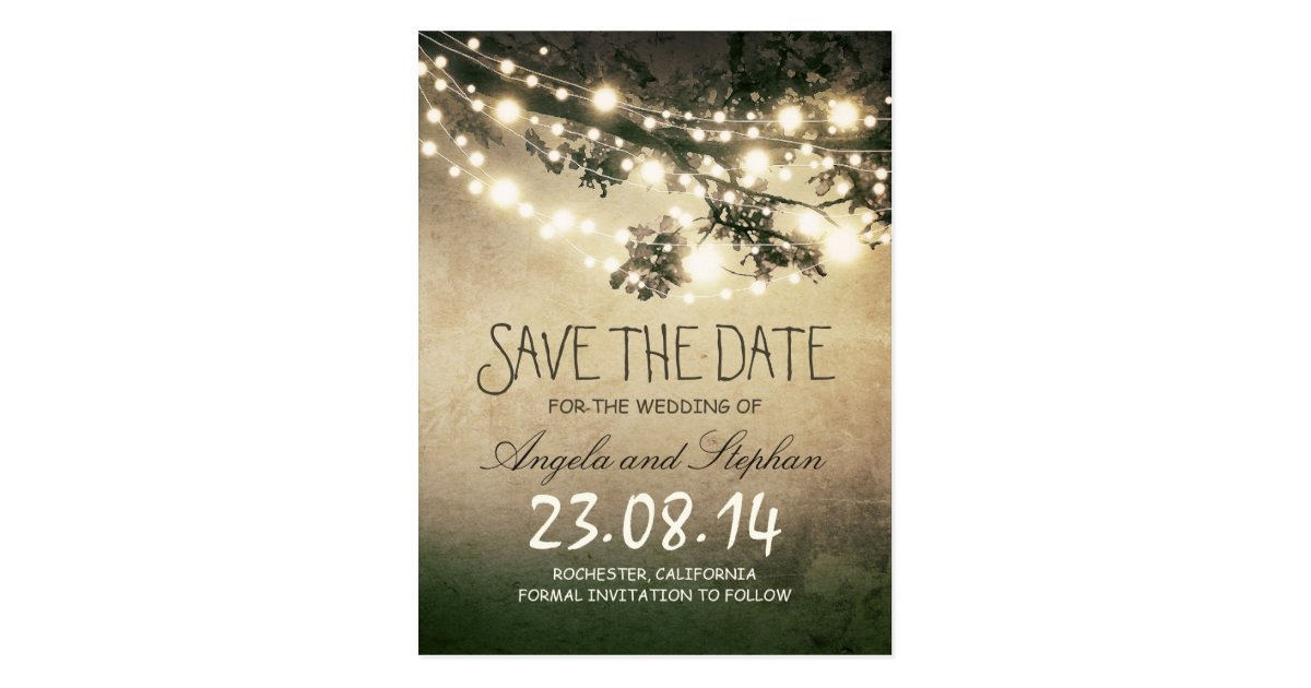 romantic night lights rustic save the date postcard. Black Bedroom Furniture Sets. Home Design Ideas