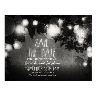 romantic night lights vintage save the date postcard