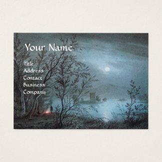 ROMANTIC NOCTURNE LANDSCAPE IN BLUE  pearl paper Business Card