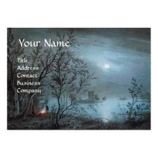 ROMANTIC NOCTURNE LANDSCAPE IN BLUE  pearl paper Large Business Card