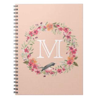 Romantic Oleander Bird Pink Floral monogram Notebook