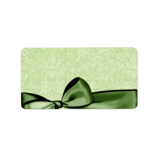 Romantic Olive Green Faux Satin Bow Wedding Favor Label