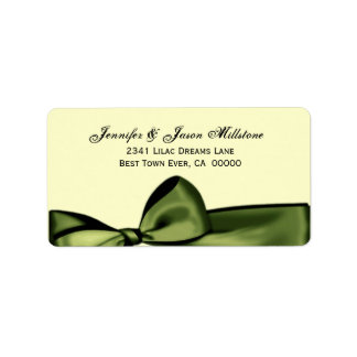 Romantic Olive Green Faux Satin Bow Wedding Label
