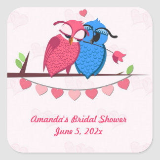 Romantic Owls and Hearts Square Sticker