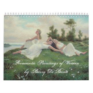 Romantic Paintings of Women by Barry DeBaun Calendar