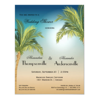 Romantic Palm Trees On Beach At Sunset 4.25x5.5 Paper Invitation Card