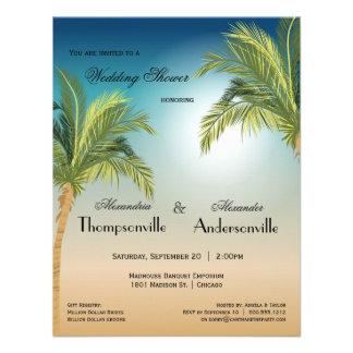 Romantic Palm Trees On Beach At Sunset Custom Invitation