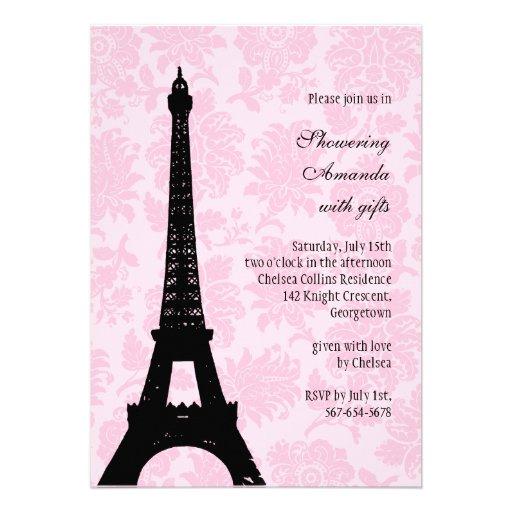 Romantic paris bridal shower 5x7 paper invitation card for Paris themed invitations bridal shower