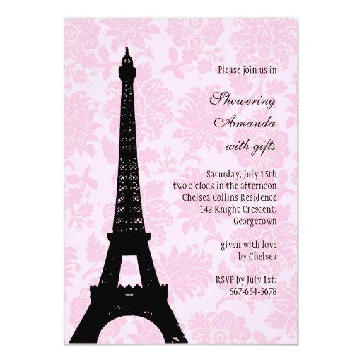 "Romantic Paris Bridal Shower 5"" X 7"" Invitation Card"