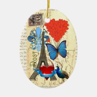 Romantic Paris collage Ceramic Ornament