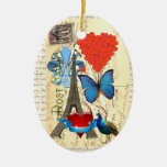 Romantic Paris collage Double-Sided Oval Ceramic Christmas Ornament
