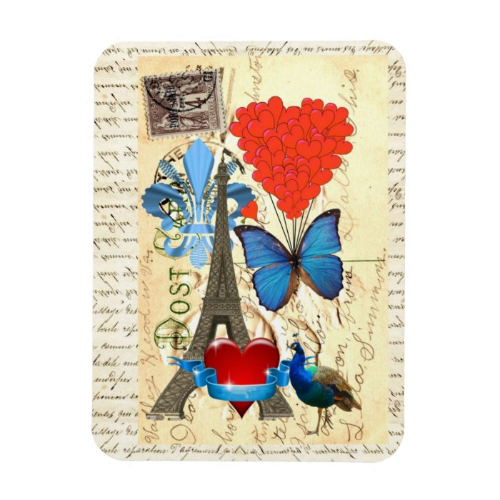 Romantic Paris collage Rectangular Photo Magnet