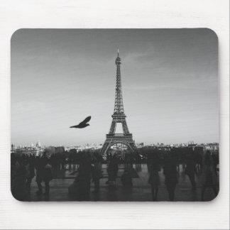 Romantic Paris Eiffel Tower Black and white Mouse Pad