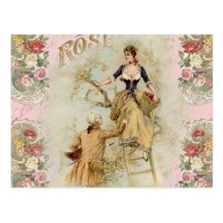 Romantic Paris Lovers pink shabbychic Postcard
