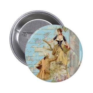 Romantic Paris Lovers Shabbychic blue Pinback Button