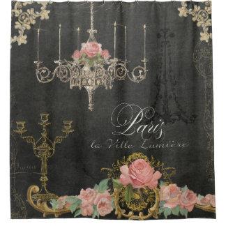 Romantic Paris Parisian Rose Chandelier Chalkboard Shower Curtain