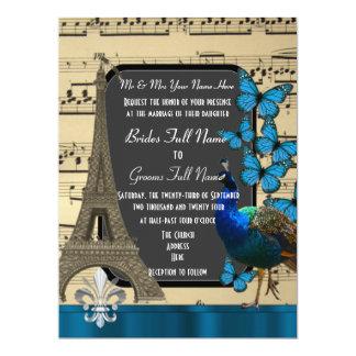 Romantic Paris, peacock and butterflies wedding Card