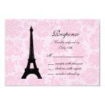 """Romantic Paris RSVP 3.5"""" X 5"""" Invitation Card"""
