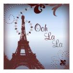 "Romantic Paris Vintage Bridal Shower Invitation 5.25"" Square Invitation Card"