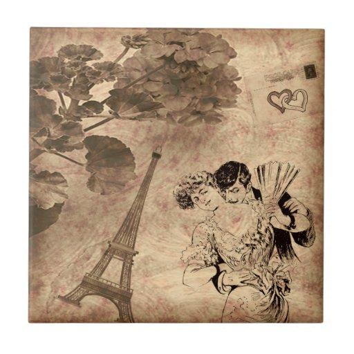 Romantic Paris Vintage Ceramic Tile