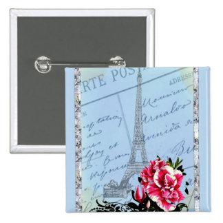 Romantic Paris Vintage Eiffel Tower & Rose 2 Inch Square Button