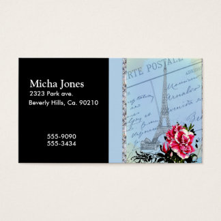 Romantic Paris Vintage Eiffel Tower & Rose Business Card