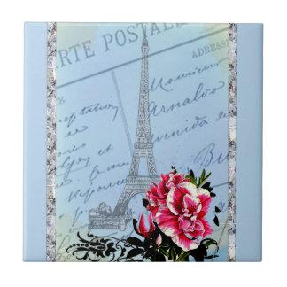 Romantic Paris Vintage Eiffel Tower & Rose Ceramic Tile
