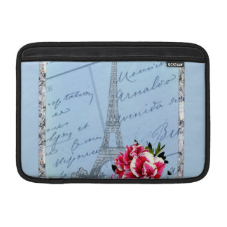 Romantic Paris Vintage Eiffel Tower & Rose MacBook Sleeve