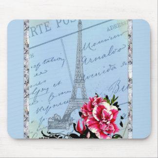 Romantic Paris Vintage Eiffel Tower & Rose Mouse Pad