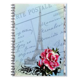 Romantic Paris Vintage Eiffel Tower Rose Notebooks