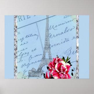 Romantic Paris Vintage Eiffel Tower & Rose Poster