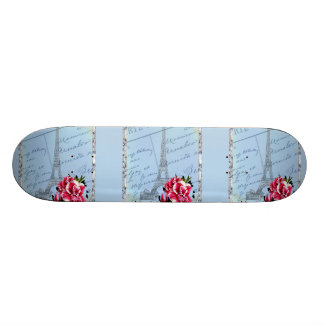 Romantic Paris Vintage Eiffel Tower & Rose Skateboards