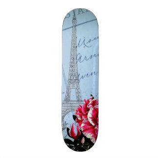 Romantic Paris Vintage Eiffel Tower & Rose Skate Board Decks