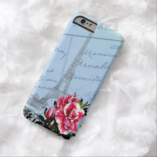Romantic Paris Vintage Eiffel Tower & Roses Barely There iPhone 6 Case
