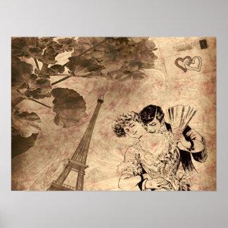 Romantic Paris Vintage Poster